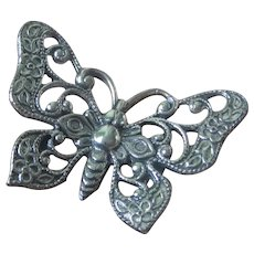 Vintage Sterling Silver Butterfly Brooch