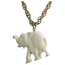 "Vintage Hand Craved Bone Elephant Pendant on Gold-Plated 23"" Chain"