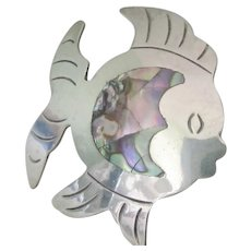 Vintage Sterling Silver Kissing Angel Fish Brooch With Beautiful Abalone In-Lay