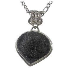 Estate Sterling Silver Black Natural Onyx Pendant