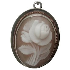 Vintage Sterling Silver Rose Gold Cameo Pendant