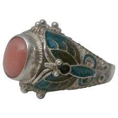 Vintage Chinese Sterling Silver Filigree Enamel Coral Ring