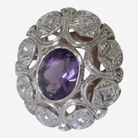 Spectacular Art Deco European Platinum 18K Amethyst and Diamond Ring