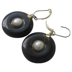 Stunning Vintage 14K YG  Black Onyx Cultured Pearl Dangle Earrings