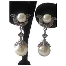 Vintage Sterling Silver Pierced Post Faux Pearl Marcasite Earrings