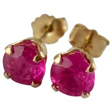 VIBRANT 1.00tcw Round Faceted Natural Rubies 14K Y.G.Pierced Post Stud Earrings