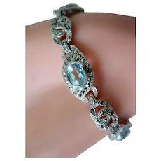 Vintage Sterling Silver Art Deco Lavish Blue Topaz Marcasite Bracelet