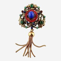 Stunning Vintage Original by Roberts  Vibrant Rhinestone Brooch/Pendant  With Tassel