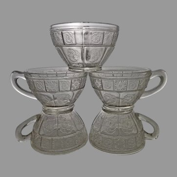 5 Doric and Pansy clear cups-Jeannette Glass Co. 1937-38