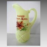 EAPG Heisey Pineapple and Fan Custard Glass Creamer Souvenir Heizer, Kansas