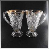(2) EAPG Bulls Eye and Fan Lemonade Mug Cup US Glass #15090