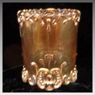 Pressed Glass Toothpick Holder Simplicity Scroll
