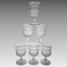 EAPG Jenkins Kokomo Paneled Sunflower Goblets  ~ Lot of 6