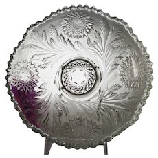 """EAPG Millersburg Hobstar and Feather 10"""" Round Bowl"""