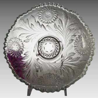 "EAPG Millersburg Hobstar and Feather 10"" Round Bowl"