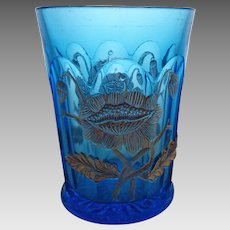 EAPG Northwood Oriental Poppy Flower Blue and Gold Tumbler