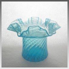 Fenton Swirl Optic Opalescent Stiegel Blue Hat c. 1939