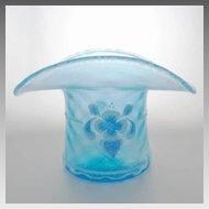 Fenton Top Hat Celeste Blue Iridescent Diamond Optic Stretch Glass 90th Anniversary