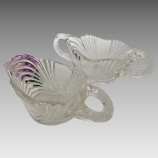 New Martinsville Elegant Depression Era Crystal Eagle Sugar and Creamer