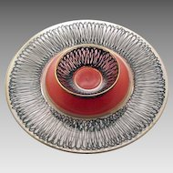 "Heisey Charleton Ebony Whirl 11"" Round Serving Plate Platter 4"" bowl"