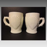 Pair FENTON Beaded Shell for LG WRIGHT Opaque Uranium Custard Glass Cups Mugs