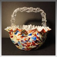 Basket Bohemian Art Glass Thorn Handle