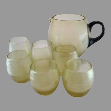 Czech Bohemian Spiraled Amber Pitcher & 6 glasses