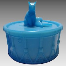 Portieux (French) MUSIQUE aka Cat on Drum Opaque Blue Covered Trinket / Puff Dish ca. 1933