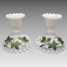 """Mid-Century Consolidated CON-CORA """"Ivy"""" Milk Glass Hobnail Candlestick Pair ...Signed"""