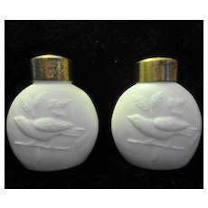 Antique THRUSH Bird Shakers White Opaque ca. 1890