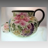 Large 96 oz.~~Textured TAPESTRY Technique~~ Floral Art Pottery Cider Pitcher