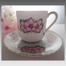 Lithophane Geisha Floral demitasse cup and saucer