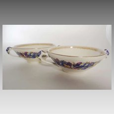 Pair Crown Ducal FLORENTINE Cream Soup Bowls Made in England