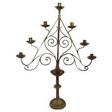 19th Century Brass Gothic Style Candelabra