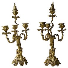 A Pair 19th Century French Rococo Style Bronze Candelabra