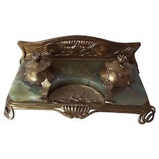 Art Nouveau green Onyx and Brass Inkwell Standish
