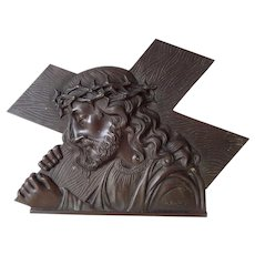A French Bronze Plaque of Jesus Carrying  the Cross