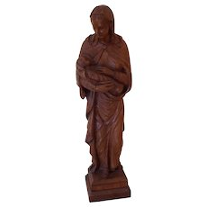 A North European Oak Carving Madonna and Child c1890