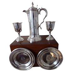 19th Century Walker & Hall Five Piece Silver Plated Communion Set in Oak Case