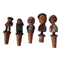 Vintage Painted Black Forest Figural Bottle Stoppers