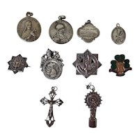 10 x Assorted Vintage Metal Religious Medals and Badges