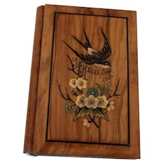 19th Century French Marquetry Olive Wood Aide Memoire from Cannes
