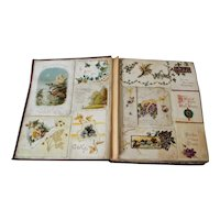 Victorian Scrap Book of Christmas Cards and New Years Cards