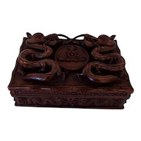 19th Century Indian Carved Box with Royal Artillery Crest and Dragons