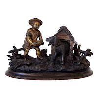 19th Century Novelty Bronze Inkwell of a Boy Feeding his Dog in a Kennel