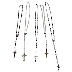 Five Assorted Vintage Rosary Beads from France
