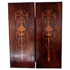 A Pair of Edwardian Rosewood Inlaid Panels