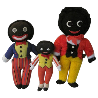 3 Cloth English Golliwogs, incl Chad Valley and Dean's Rag