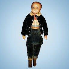 """18"""" Wax Boy with maker's marks and original clothes."""