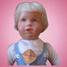 "1965 Kathe Kruse Boy 14"" plastic head, all original with box"